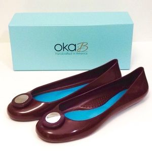 Oka-B Mary Ballet Flat in Port / Burgundy, Sz 10